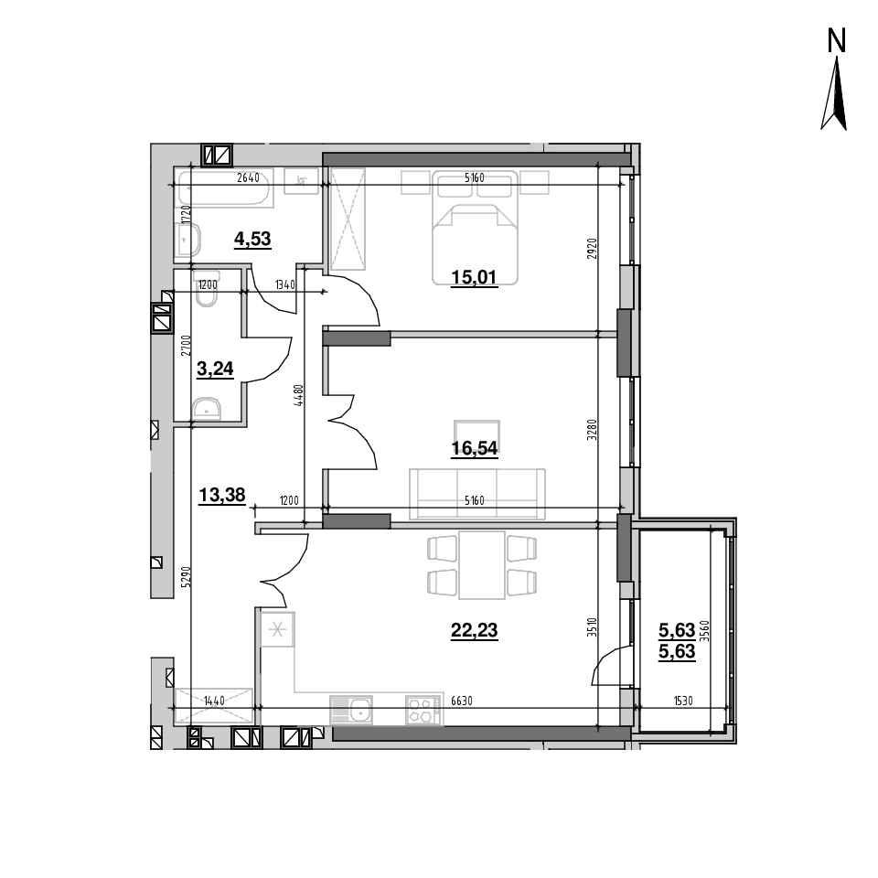 ЖК Riel City: планування 2-кімнатної квартири, №59, 80.56 м<sup>2</sup>