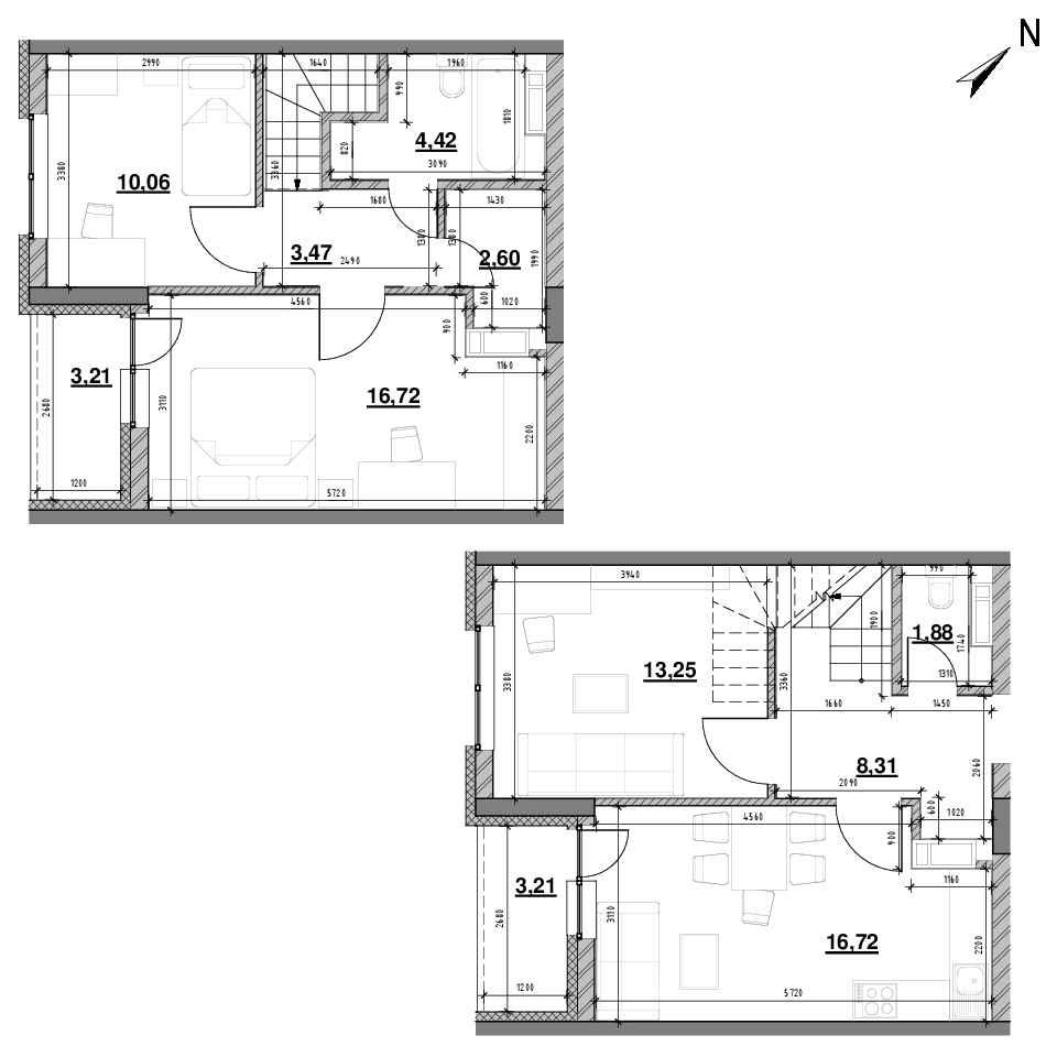 ЖК Оk'Land: планування 3-кімнатної квартири, №103, 84.29 м<sup>2</sup>