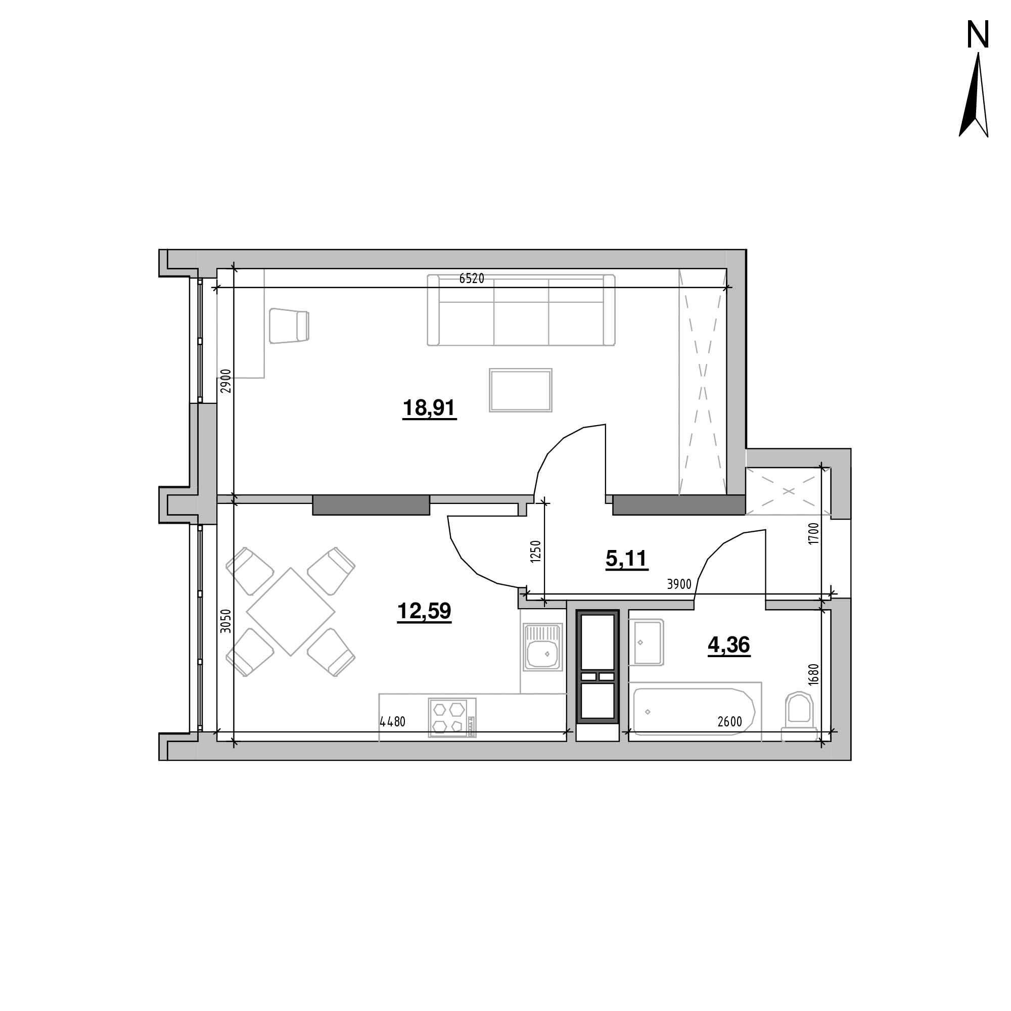 ЖК Nordica Residence: планування 1-кімнатної квартири, №61, 40.97 м<sup>2</sup>