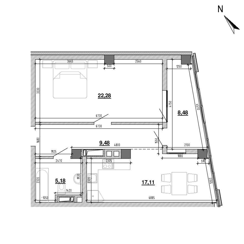 ЖК Підзамче. Вежа: планування 1-кімнатної квартири, №5, 62.53 м<sup>2</sup>