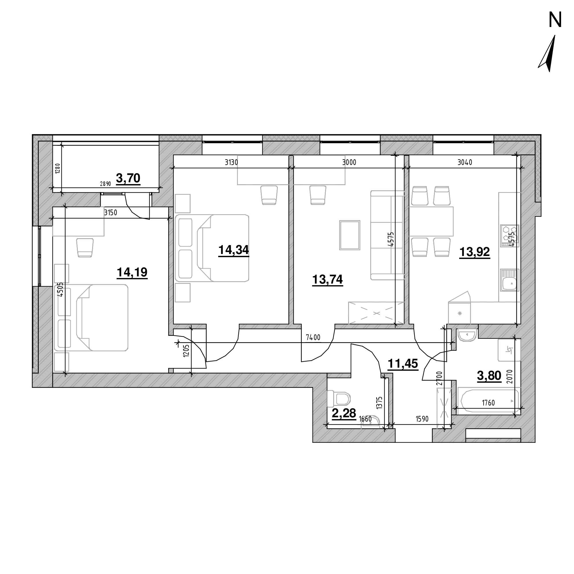ЖК Шенген: планування 3-кімнатної квартири, №53а, 77.42 м<sup>2</sup>