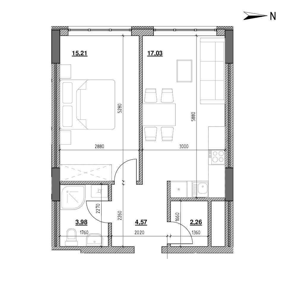 ЖК Голоські Кручі: планування 1-кімнатної квартири, №86, 43.05 м<sup>2</sup>