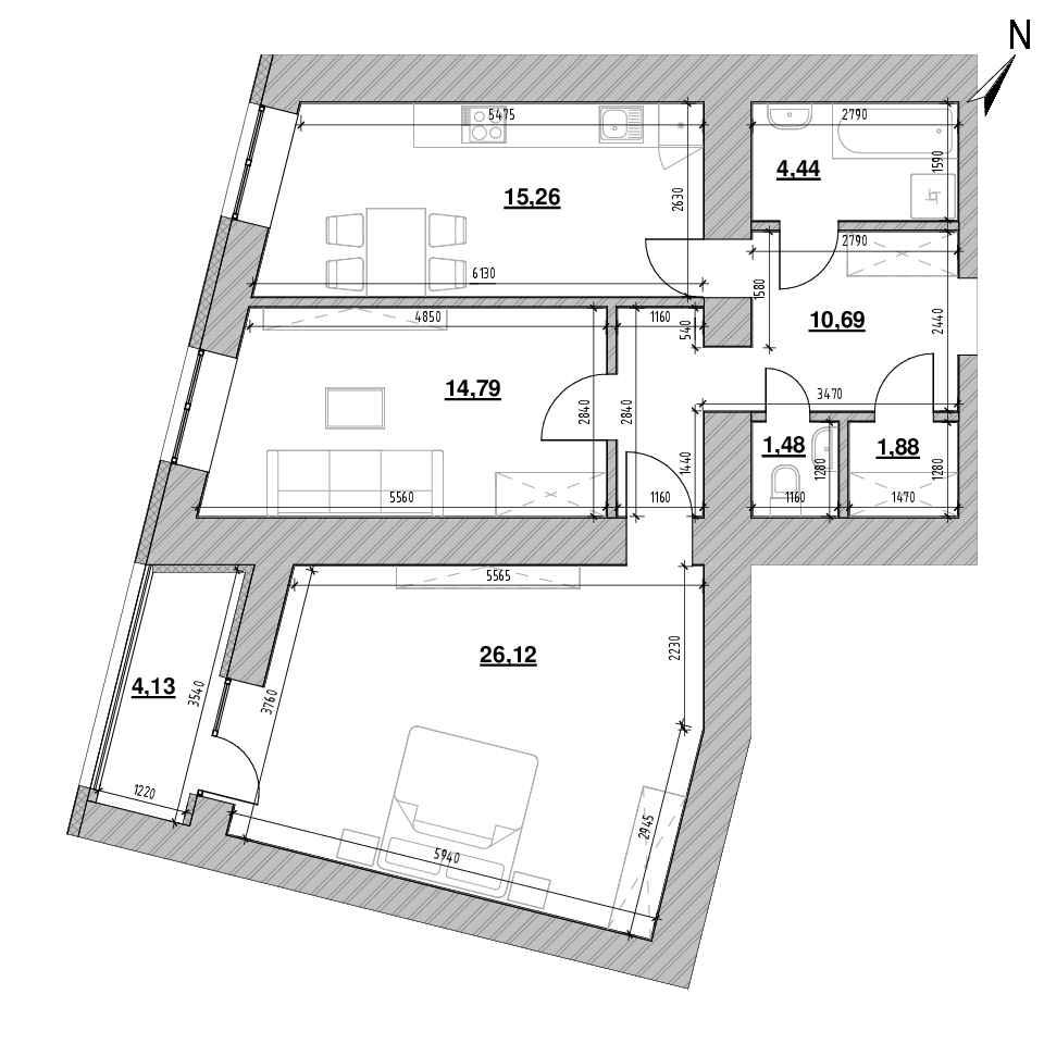 ЖК Шенген: планування 2-кімнатної квартири, №22, 78.79 м<sup>2</sup>