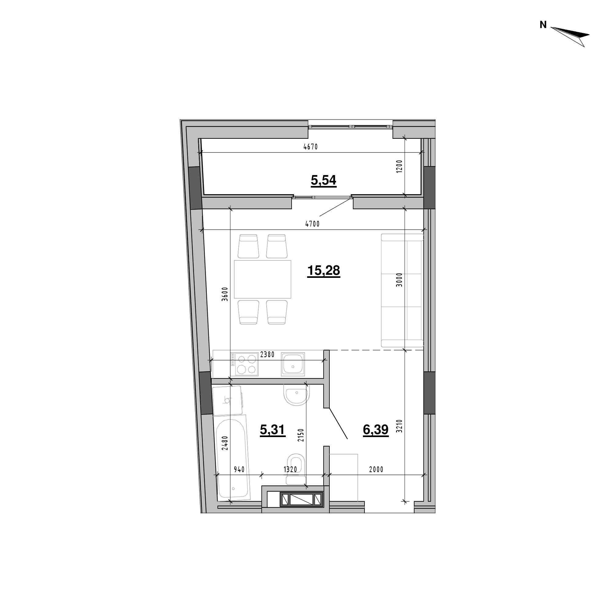 ЖК Підзамче. Брама: планування 1-кімнатної квартири, №21б, 32.52 м<sup>2</sup>