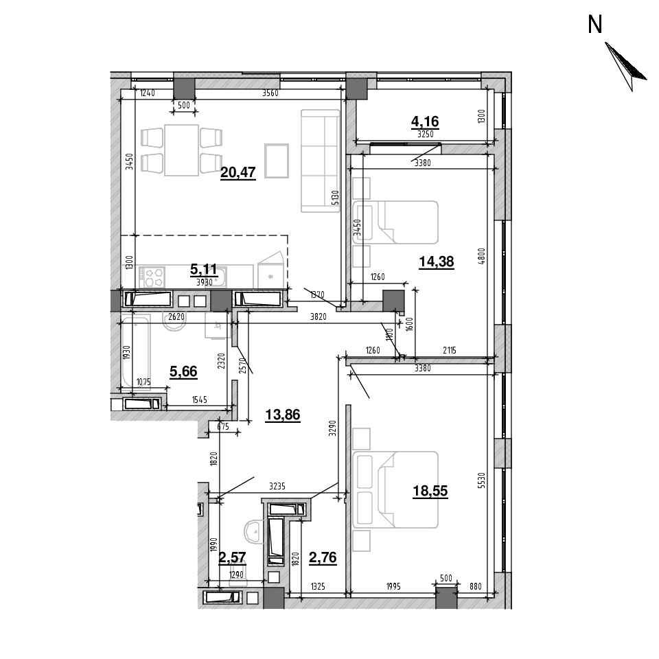ЖК Підзамче. Вежа: планування 3-кімнатної квартири, №44(42), 87.52 м<sup>2</sup>
