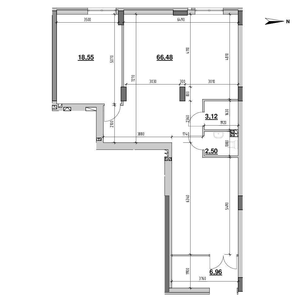 ЖК Riel City: планування приміщення площею 97.61 м<sup>2</sup>