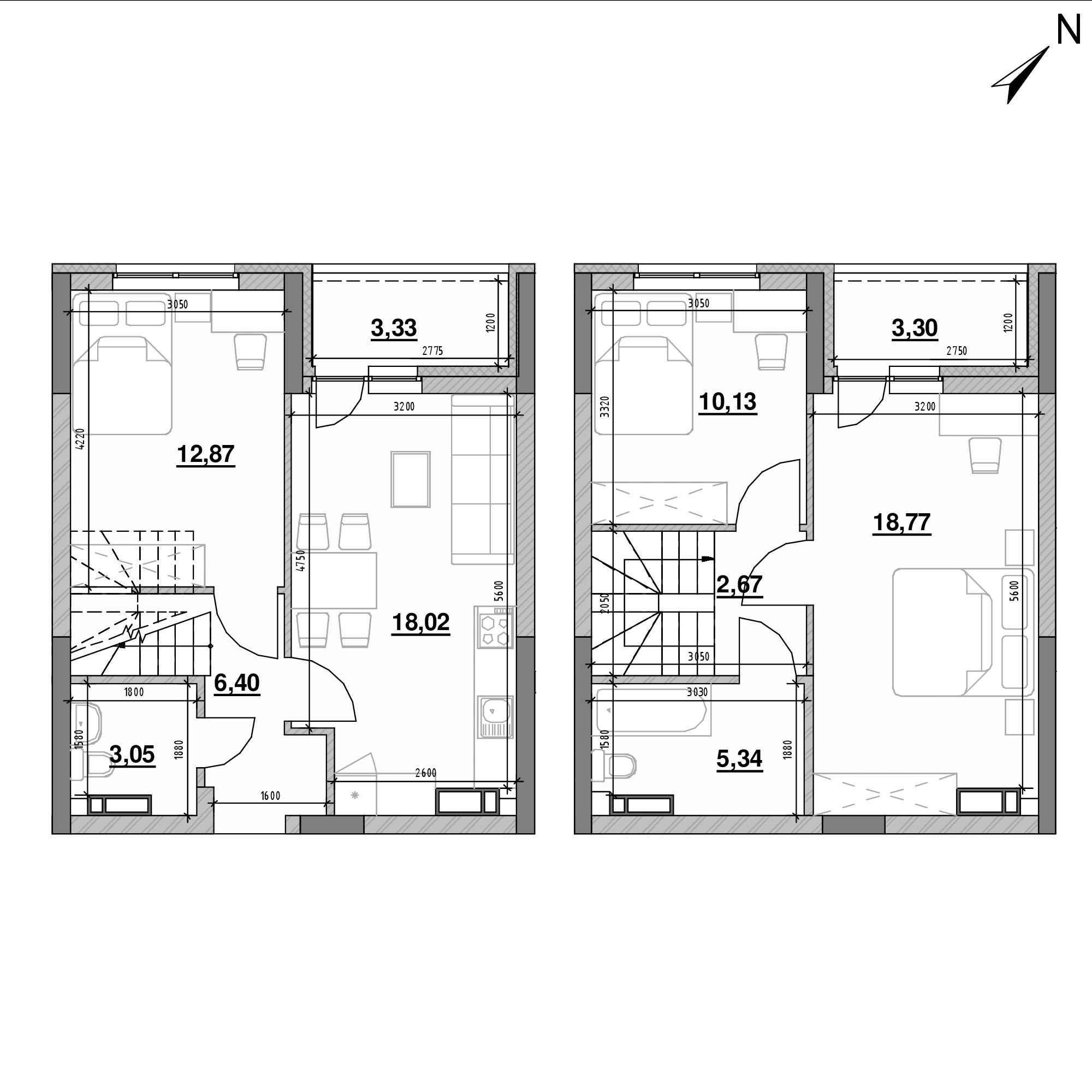 ЖК Оk'Land: планування 3-кімнатної квартири, №459, 83.88 м<sup>2</sup>