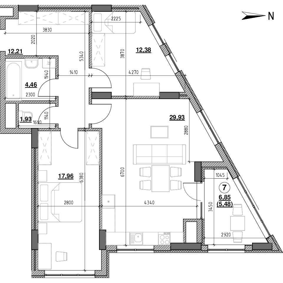 ЖК Голоські Кручі: планування 2-кімнатної квартири, №73, 84.35 м<sup>2</sup>