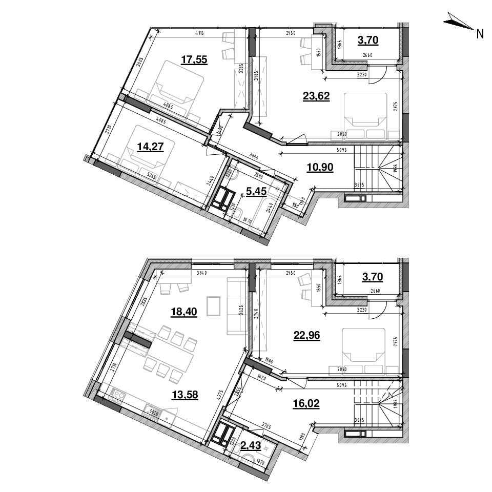 ЖК Львівська Площа: планування 4-кімнатної квартири, №160, 150.73 м<sup>2</sup>