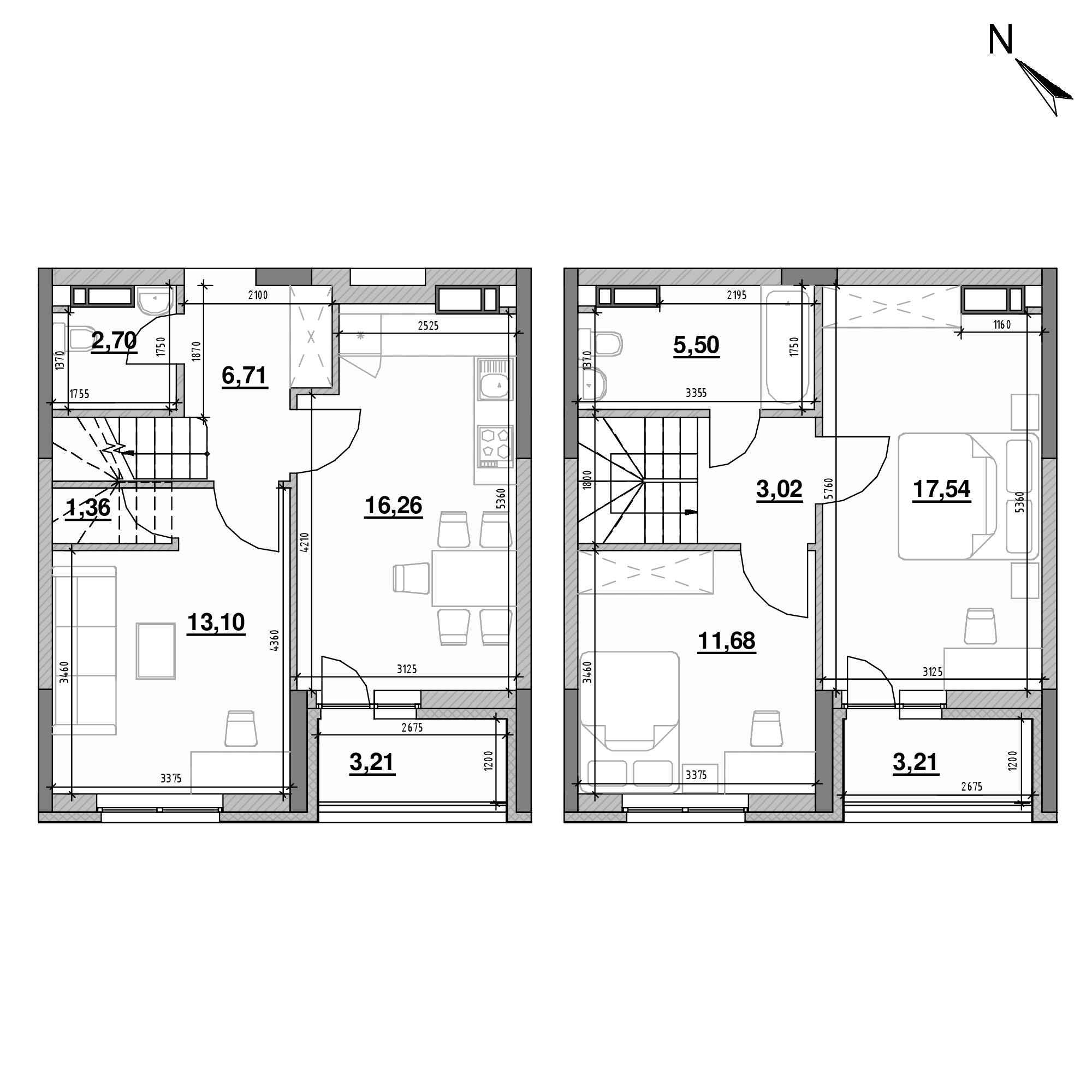 ЖК Оk'Land: планування 3-кімнатної квартири, №108, 84.29 м<sup>2</sup>