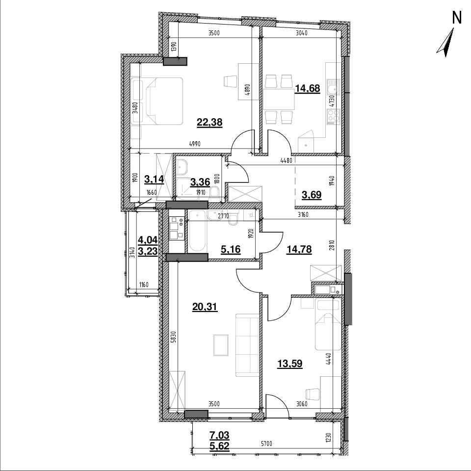 ЖК Topolis: планування 3-кімнатної квартири, №87, 109.94 м<sup>2</sup>