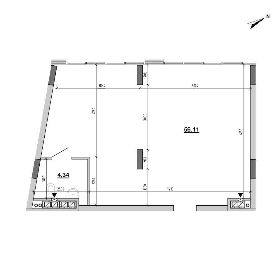ЖК Підзамче. Вежа: планування приміщення площею 60.56 м<sup>2</sup>