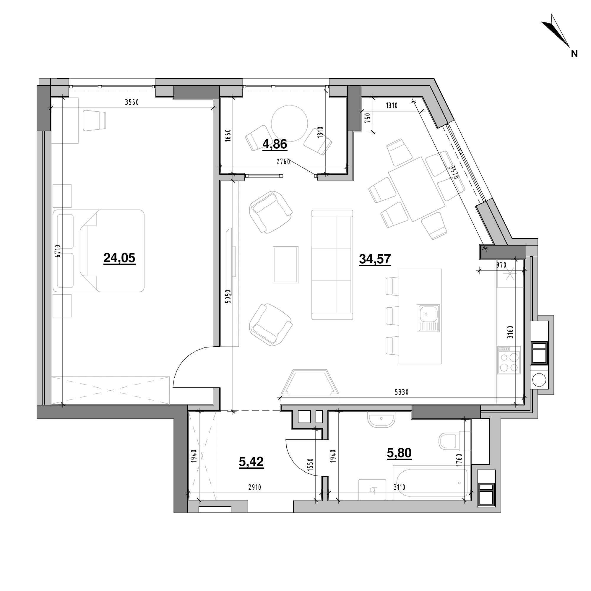 ЖК Ярославенка: планування 1-кімнатної квартири, №21, 74.7 м<sup>2</sup>