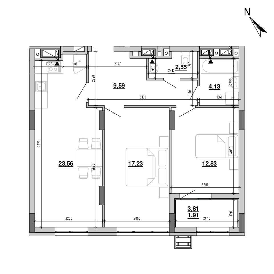 ЖК Підзамче. Вежа: планування 2-кімнатної квартири, №25, 71.8 м<sup>2</sup>