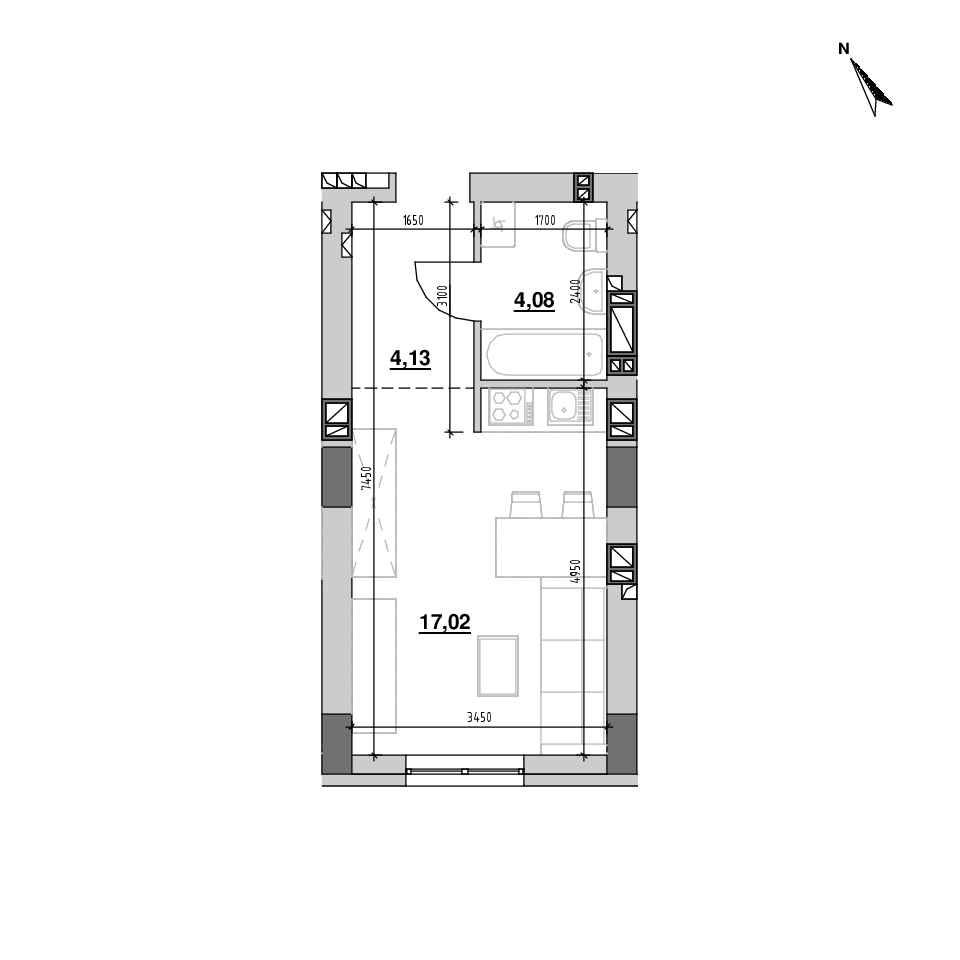 ЖК Riel City: планування 1-кімнатної квартири, №136, 25.22 м<sup>2</sup>