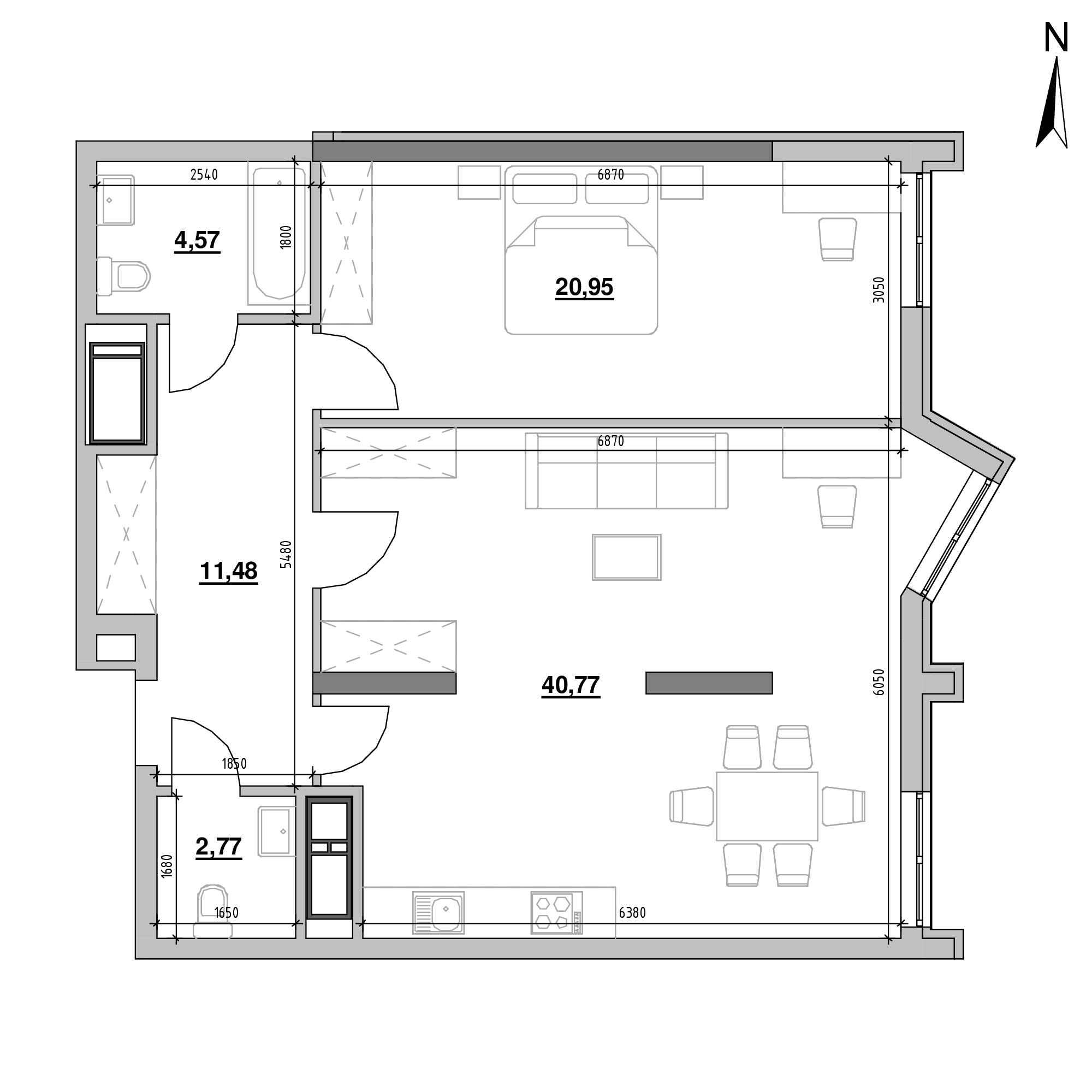 ЖК Nordica Residence: планування 1-кімнатної квартири, №44, 80.54 м<sup>2</sup>