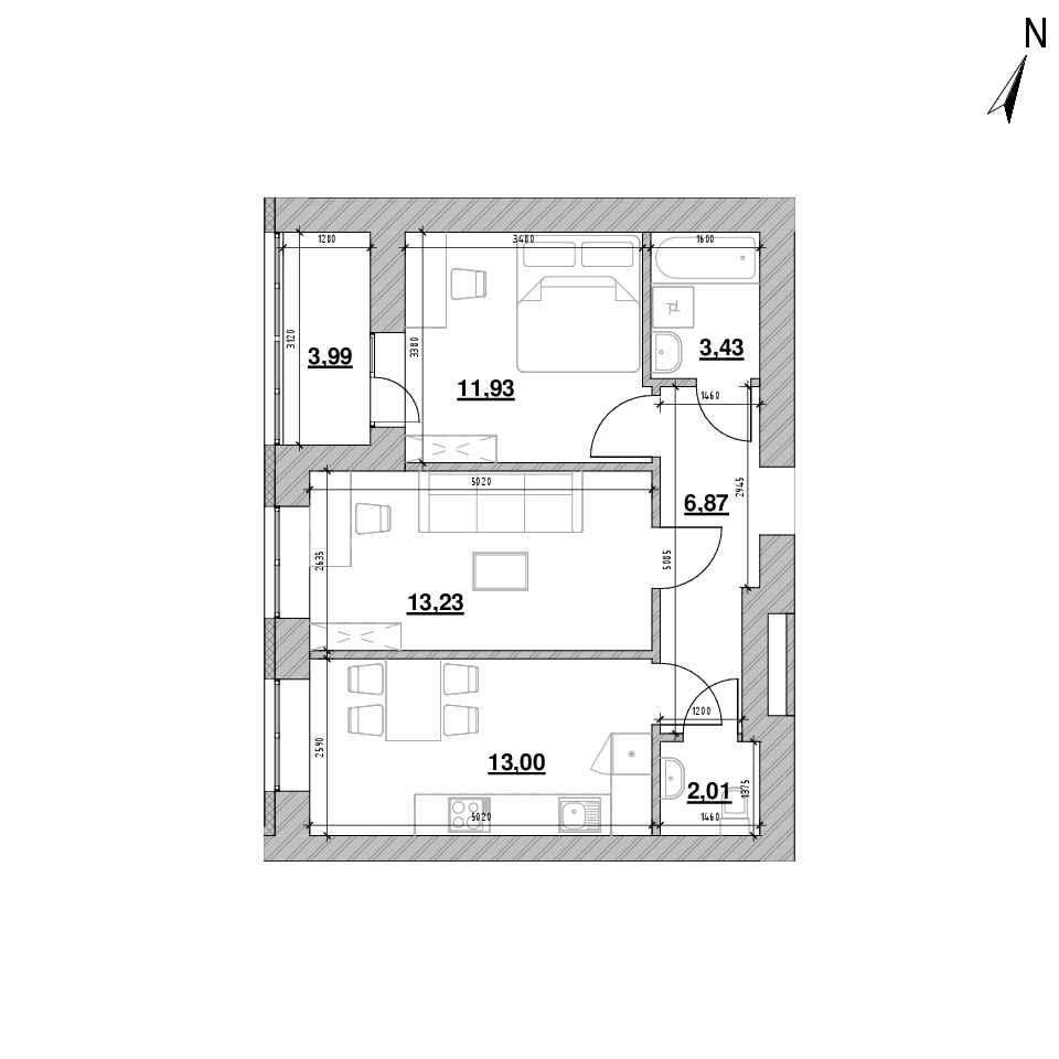 ЖК Шенген: планування 2-кімнатної квартири, №1, 54.46 м<sup>2</sup>