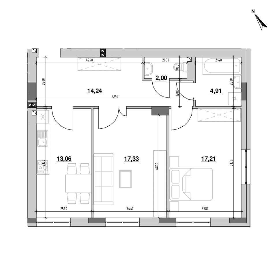 ЖК Riel City: планування 2-кімнатної квартири, №21, 68.96 м<sup>2</sup>