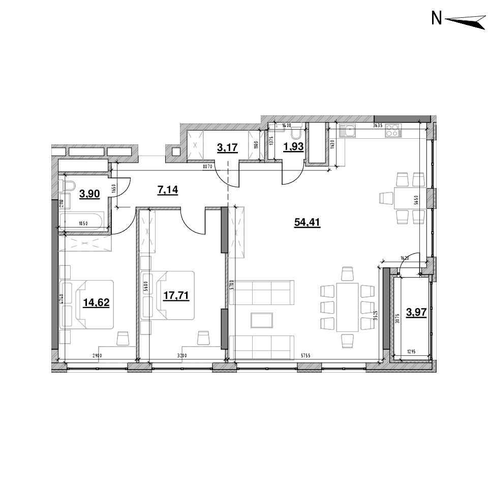 ЖК Nordica Residence: планування 2-кімнатної квартири, №201, 106.85 м<sup>2</sup>