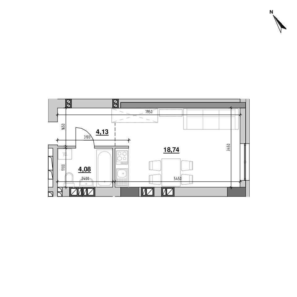 ЖК Riel City: планування 1-кімнатної квартири, №208, 26.95 м<sup>2</sup>