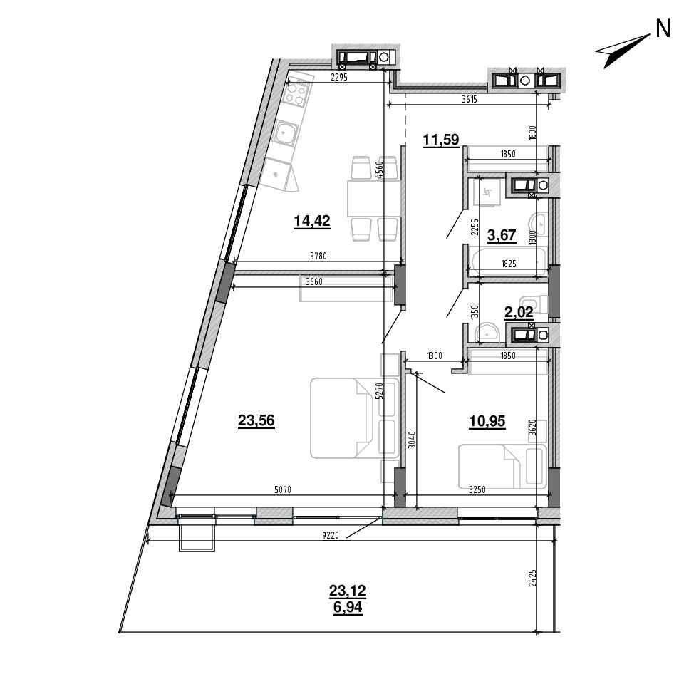 ЖК Підзамче. Новий Форт: планування 2-кімнатної квартири, №6, 73.17 м<sup>2</sup>