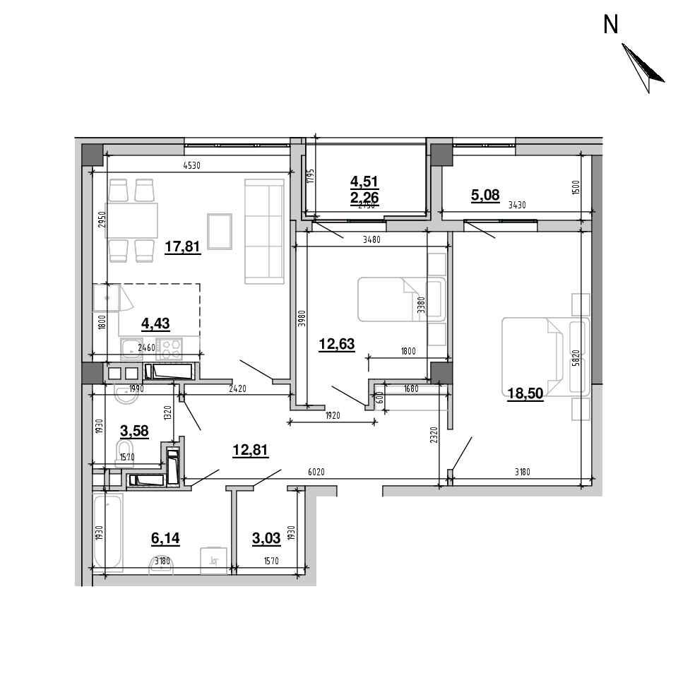 ЖК Підзамче. Вежа: планування 2-кімнатної квартири, №15, 86.27 м<sup>2</sup>