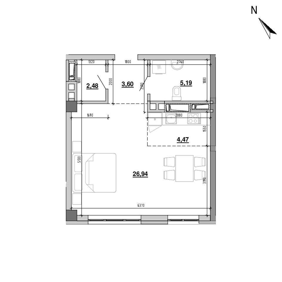 ЖК Підзамче. Вежа: планування 2-кімнатної квартири, №13, 42.68 м<sup>2</sup>