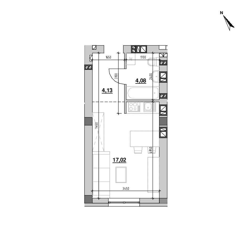 ЖК Riel City: планування 1-кімнатної квартири, №216, 25.23 м<sup>2</sup>
