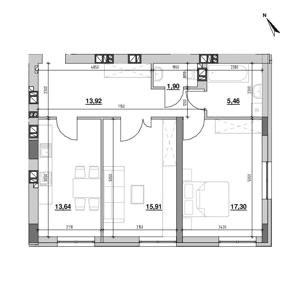 ЖК Riel City: планування 2-кімнатної квартири, №59, 68.12 м<sup>2</sup>