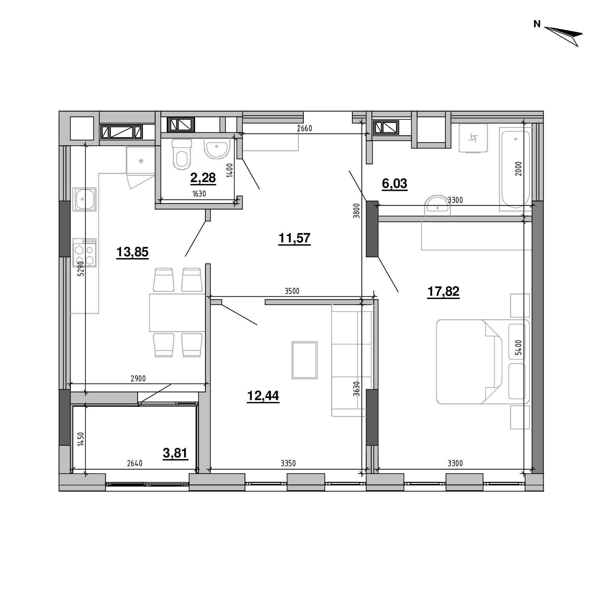 ЖК Підзамче. Брама: планування 2-кімнатної квартири, №22, 67.8 м<sup>2</sup>