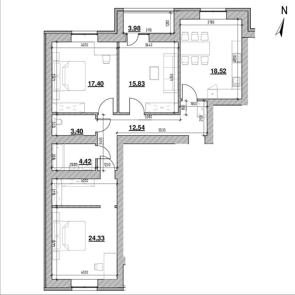 ЖК Шенген: планування 3-кімнатної квартири, №42, 100.81 м<sup>2</sup>