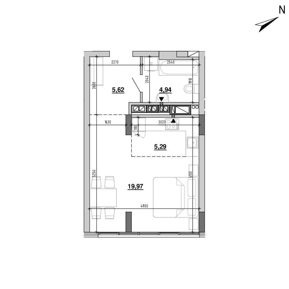 ЖК Підзамче. Вежа: планування 1-кімнатної квартири, №4, 35.82 м<sup>2</sup>