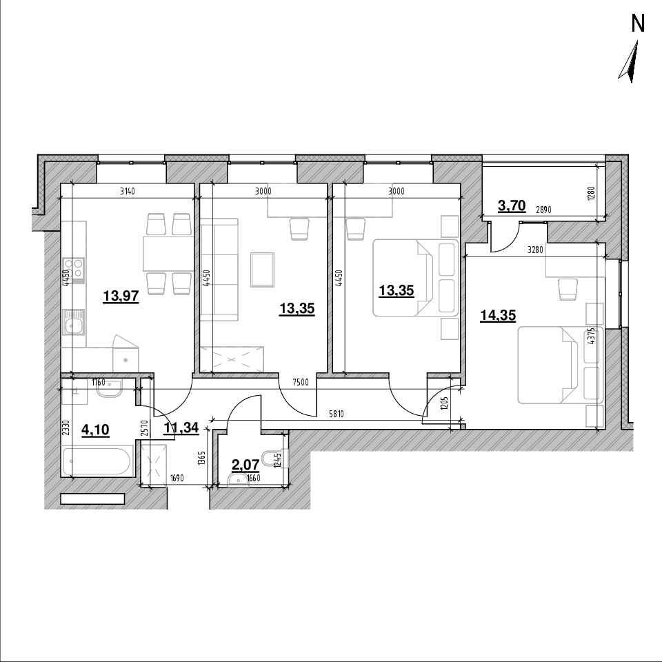 ЖК Шенген: планування 3-кімнатної квартири, №31, 77.36 м<sup>2</sup>