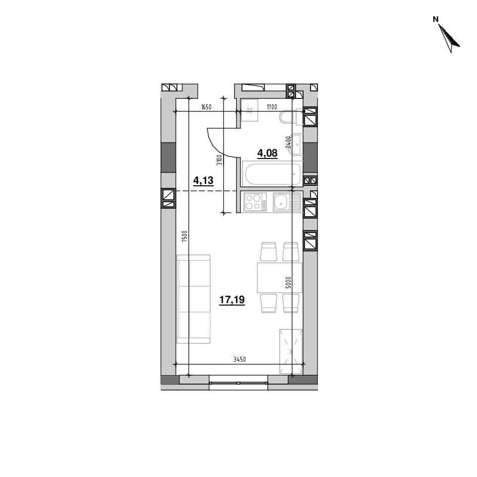 ЖК Riel City: планування 1-кімнатної квартири, №174, 25.39 м<sup>2</sup>