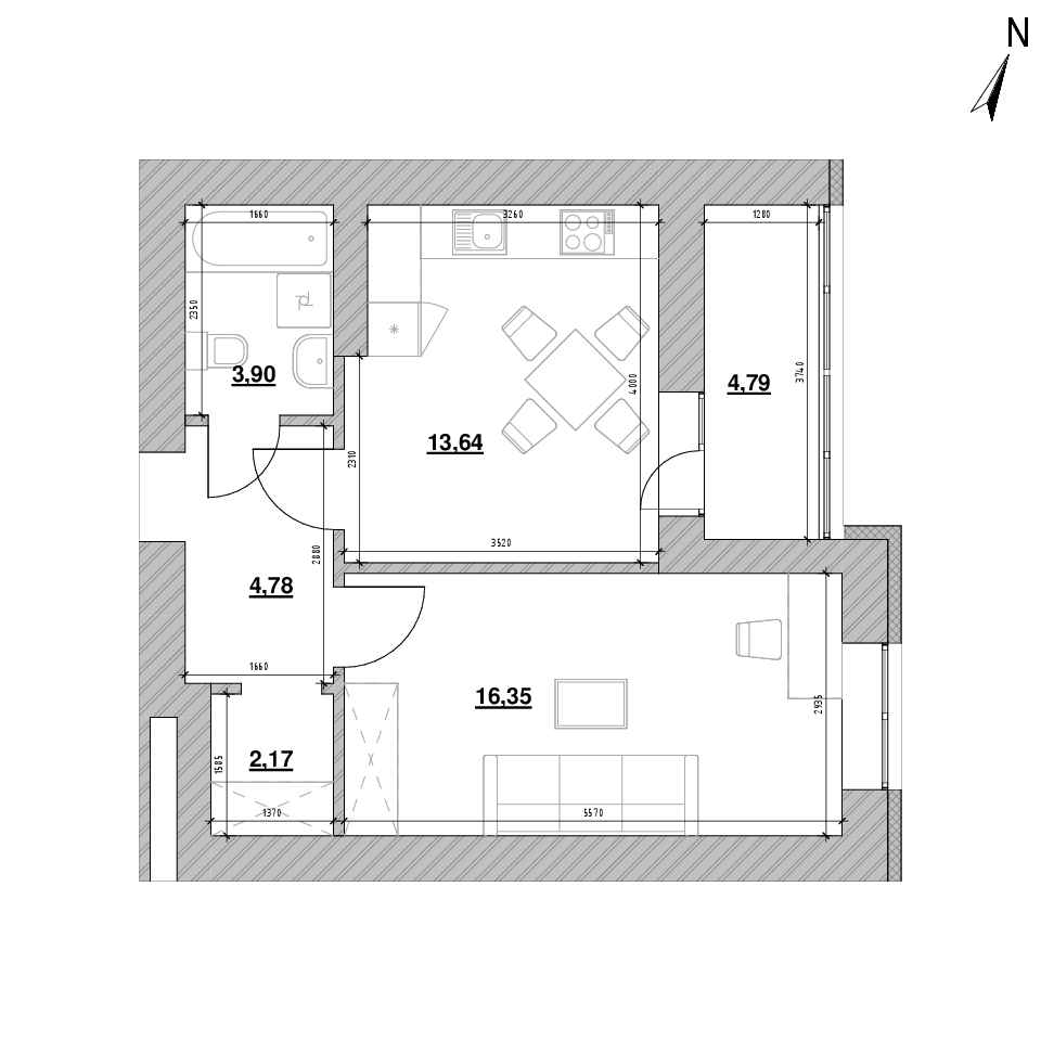 ЖК Шенген: планування 1-кімнатної квартири, №20, 45.63 м<sup>2</sup>