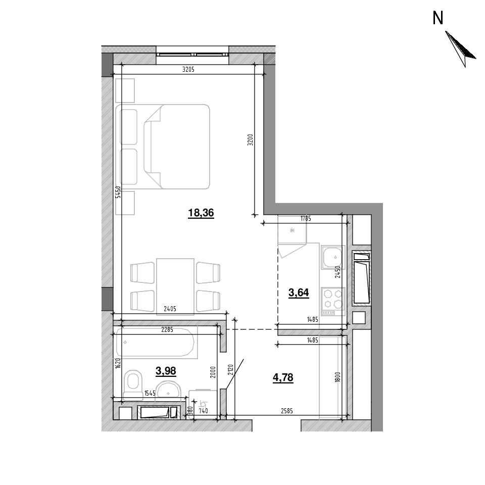 ЖК Підзамче. Вежа: планування 1-кімнатної квартири, №10, 30.76 м<sup>2</sup>