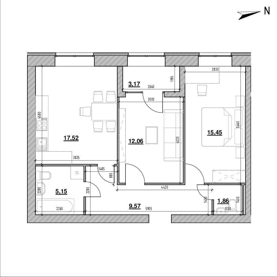 ЖК Компаньйон: планування 2-кімнатної квартири, №101а, 64.78 м<sup>2</sup>