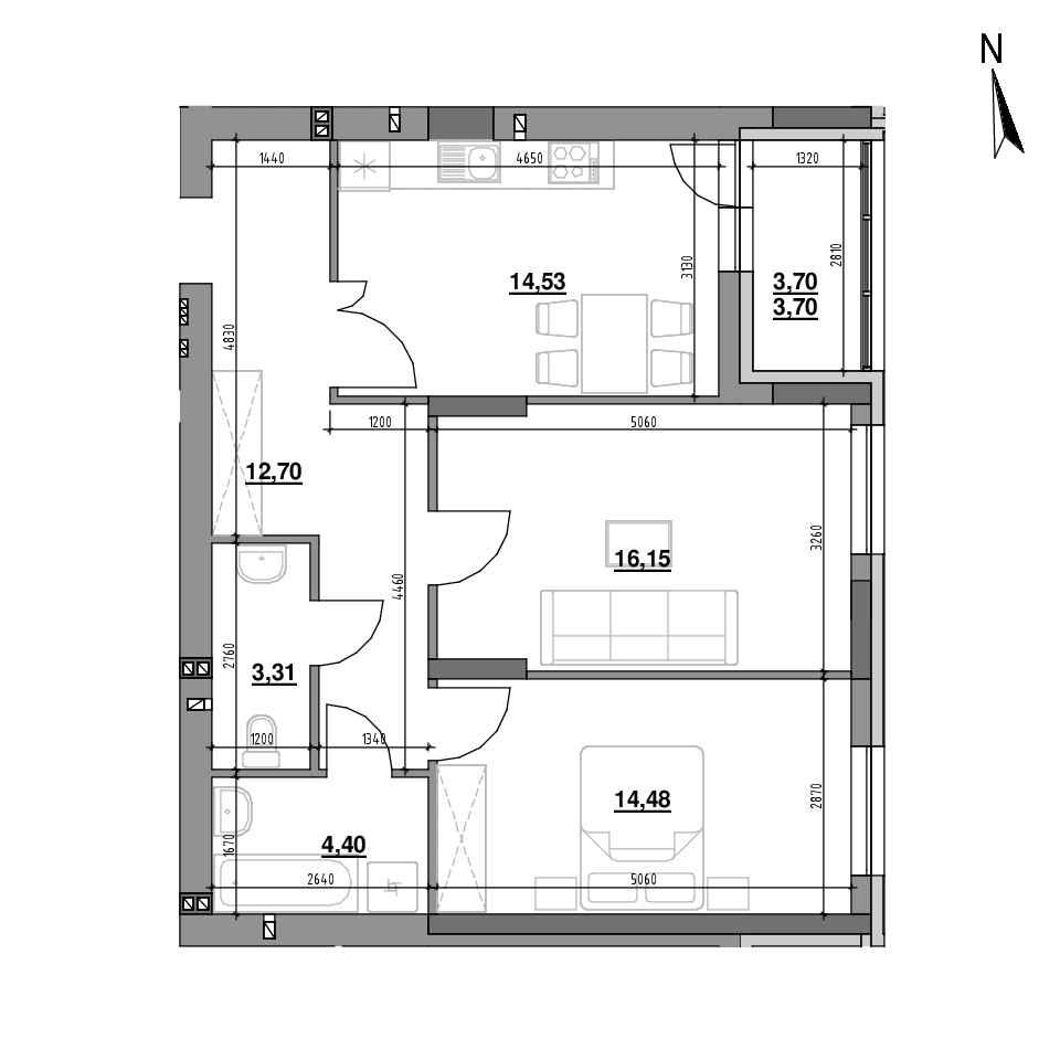 ЖК Riel City: планування 2-кімнатної квартири, №7, 69.27 м<sup>2</sup>
