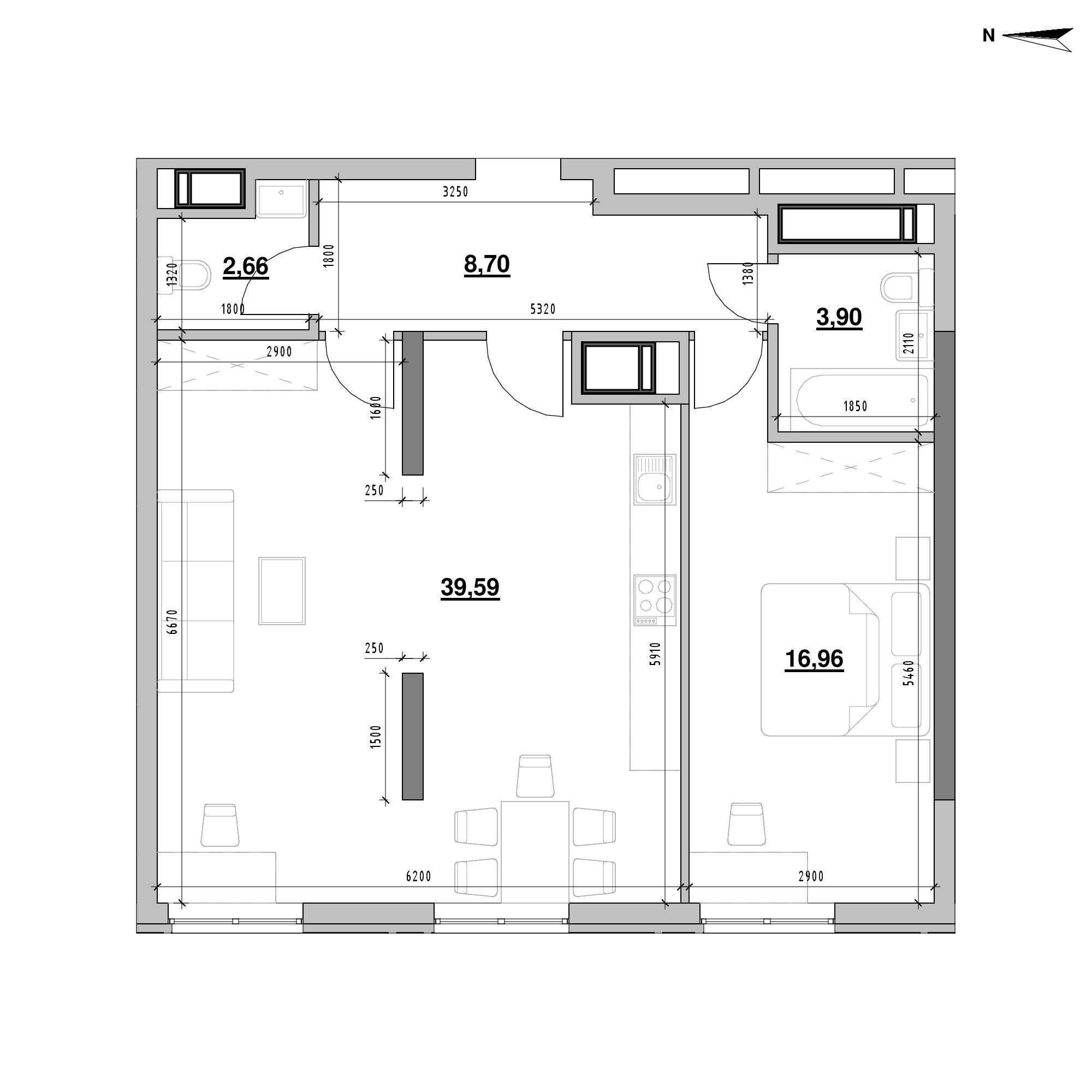 ЖК Nordica Residence: планування 1-кімнатної квартири, №166, 71.89 м<sup>2</sup>