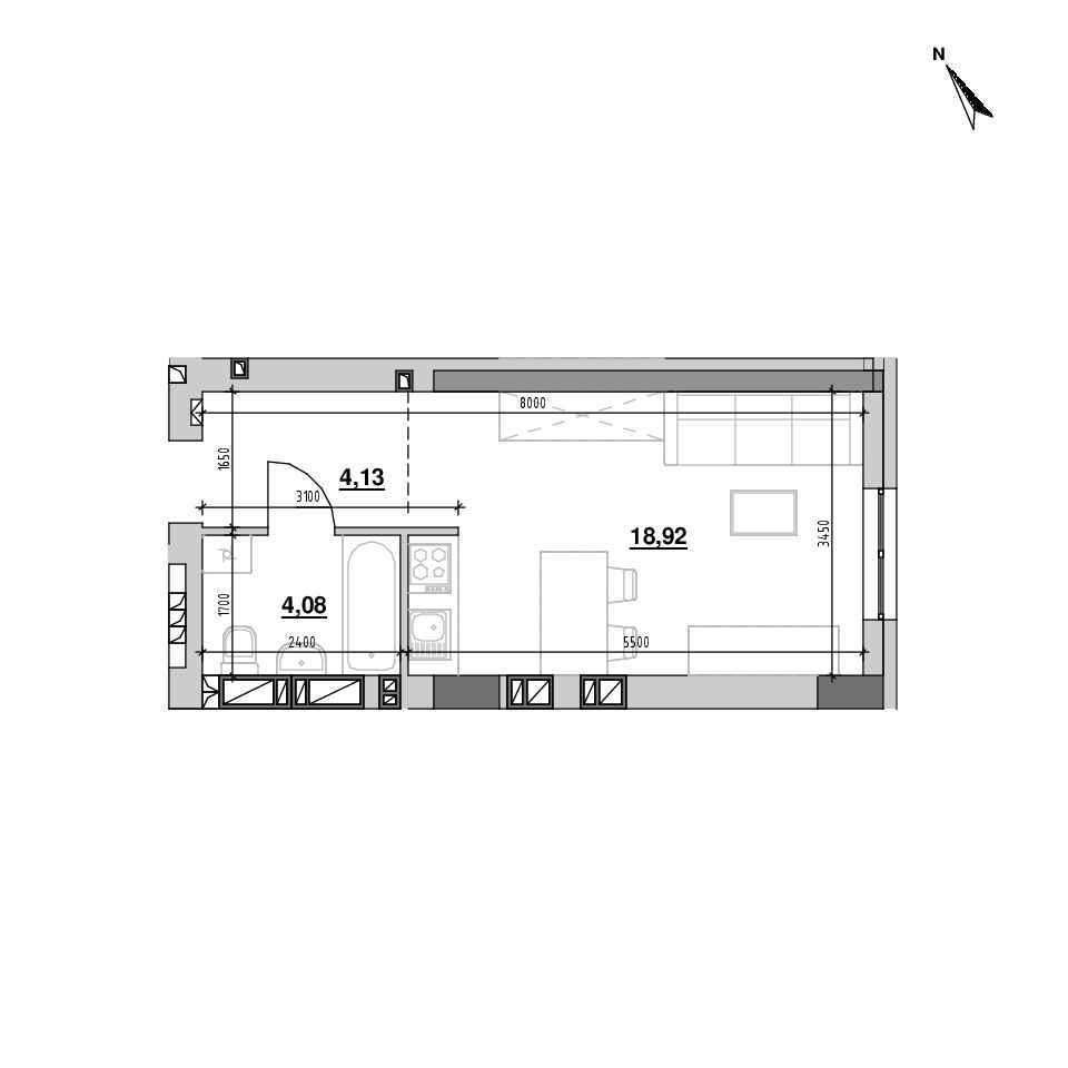 ЖК Riel City: планування 1-кімнатної квартири, №132, 27.12 м<sup>2</sup>