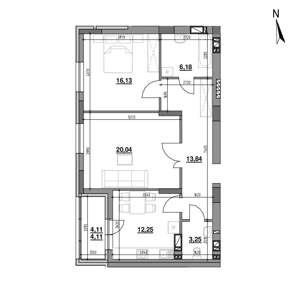 ЖК Riel City: планування 2-кімнатної квартири, №81, 75.8 м<sup>2</sup>