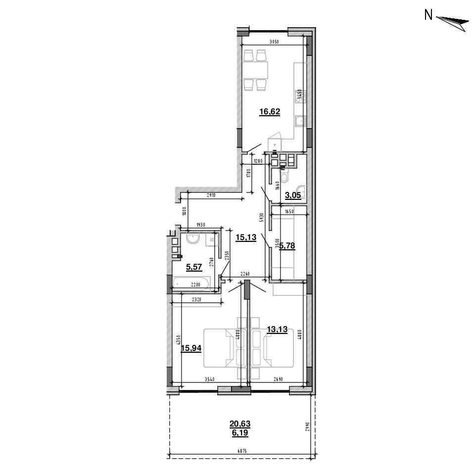 ЖК Підзамче. Брама: планування 2-кімнатної квартири, №5, 80.59 м<sup>2</sup>