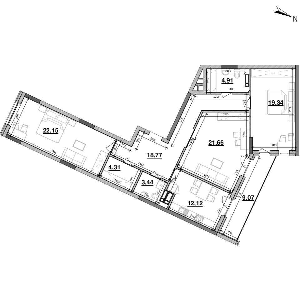 ЖК Львівська Площа: планування 3-кімнатної квартири, №129, 115.77 м<sup>2</sup>