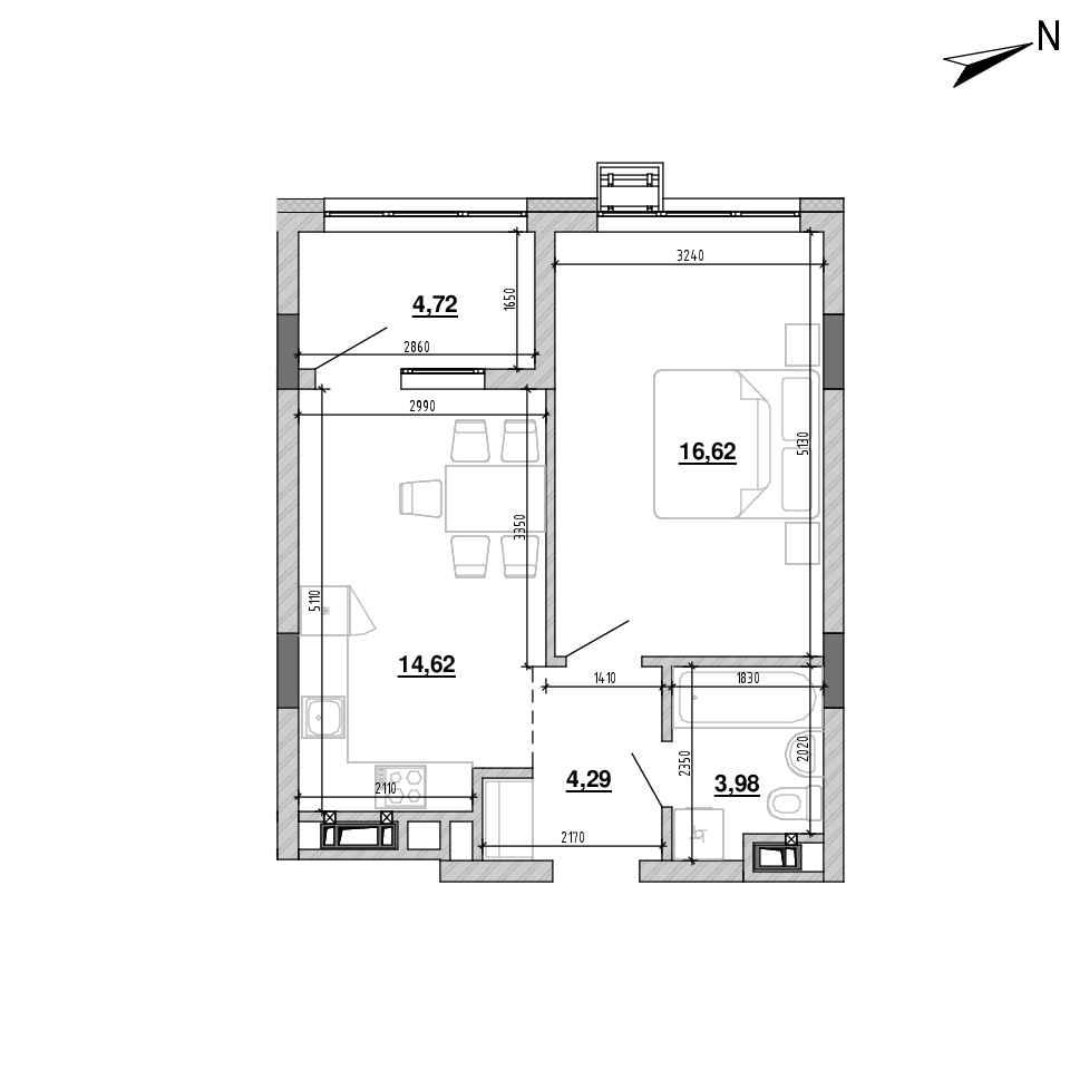 ЖК Підзамче. Новий Форт: планування 1-кімнатної квартири, №9, 44.23 м<sup>2</sup>