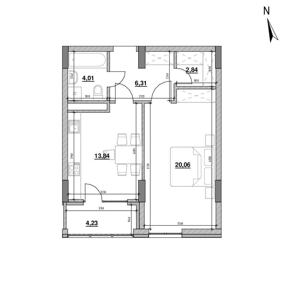 ЖК Велика Британія: планування 1-кімнатної квартири, №40, 51.29 м<sup>2</sup>