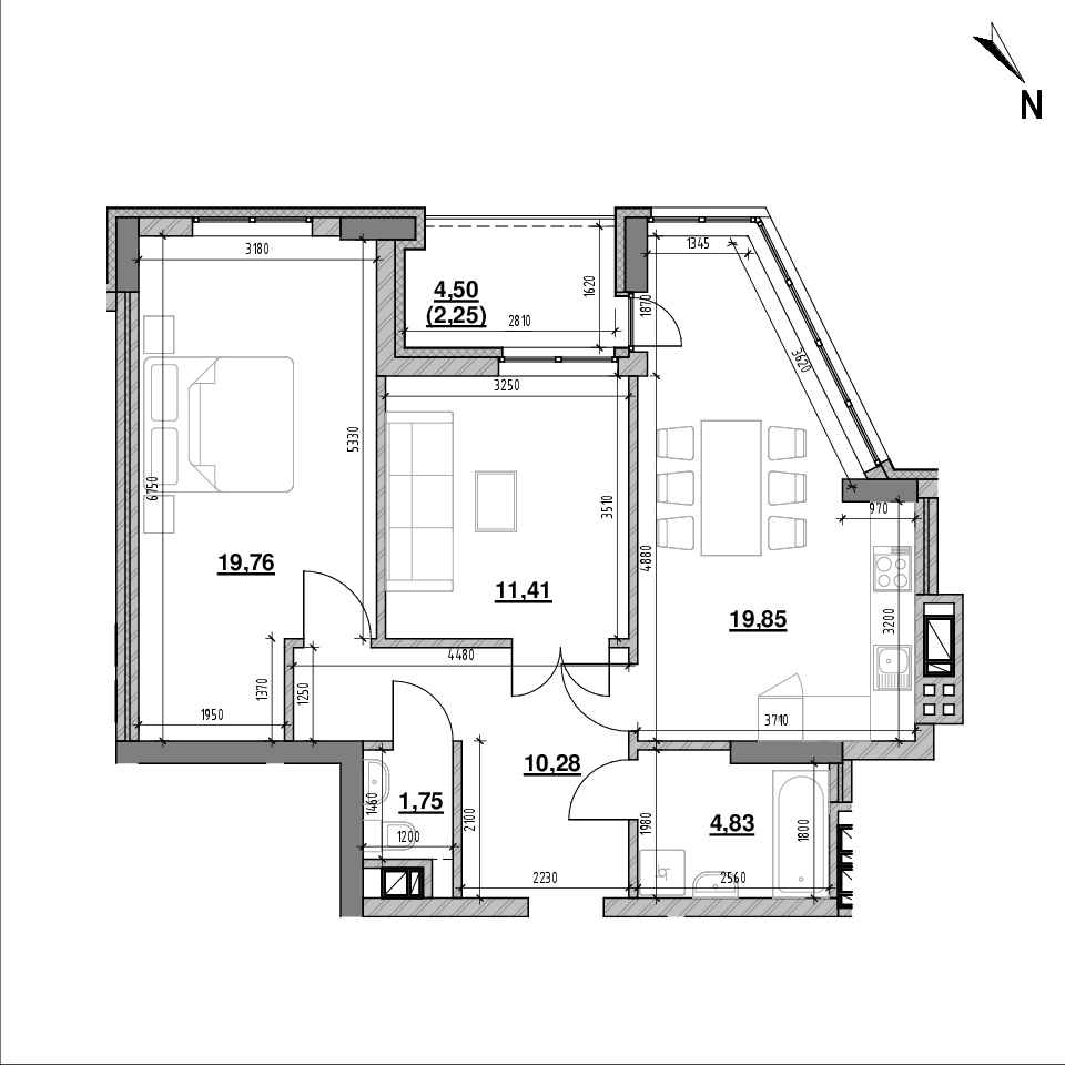 ЖК Ярославенка: планування 2-кімнатної квартири, №18, 70.13 м<sup>2</sup>