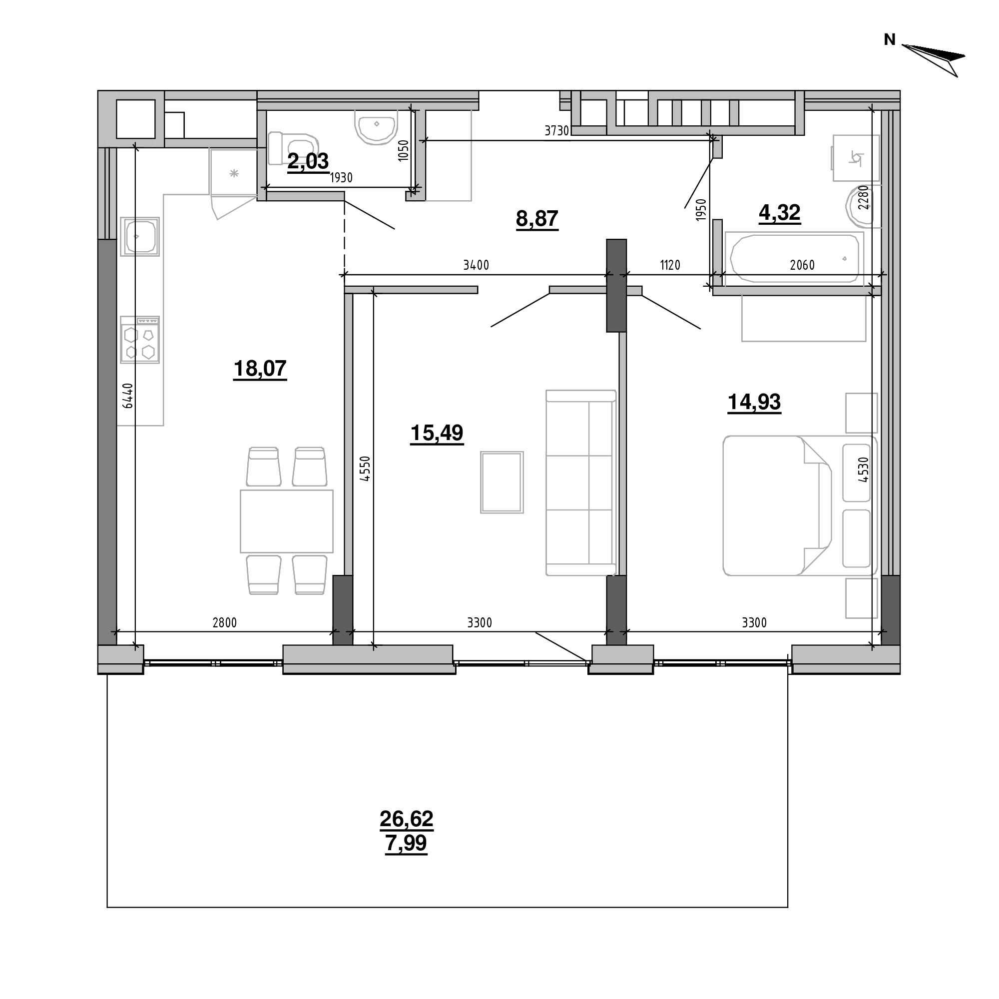 ЖК Підзамче. Брама: планування 2-кімнатної квартири, №4, 71.7 м<sup>2</sup>