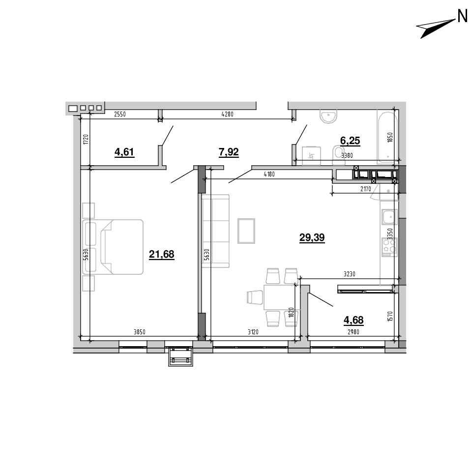 ЖК Підзамче. Новий Форт: планування 1-кімнатної квартири, №28, 74.53 м<sup>2</sup>