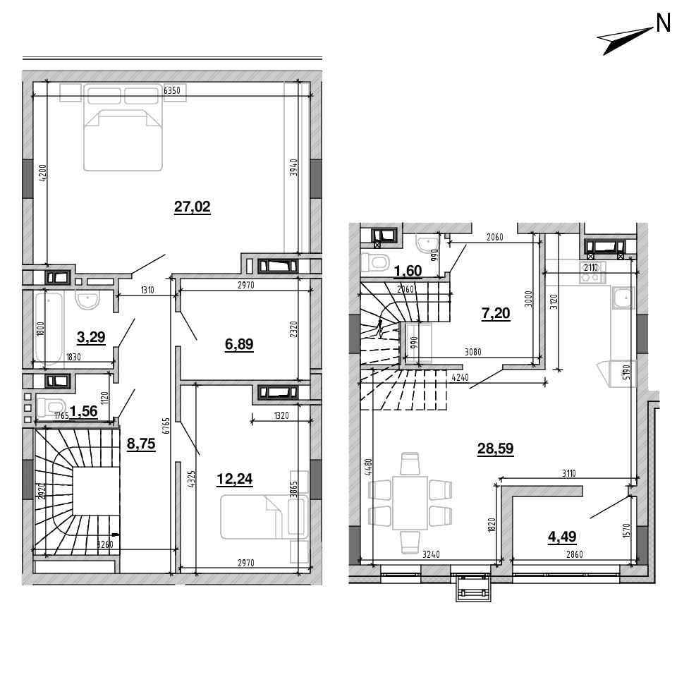 ЖК Підзамче. Новий Форт: планування 2-кімнатної квартири, №32, 101.63 м<sup>2</sup>