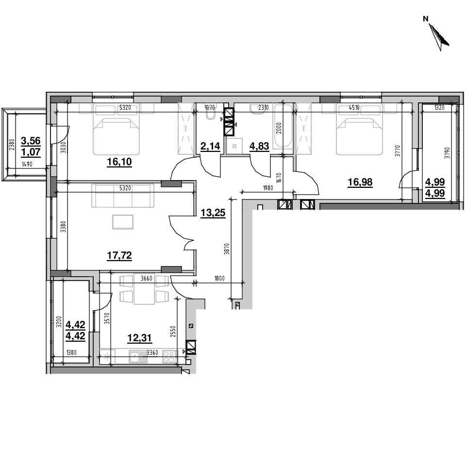 ЖК Riel City: планування 3-кімнатної квартири, №6, 93.81 м<sup>2</sup>